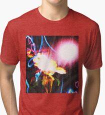 Spiral Flower with Intense Glow  Tri-blend T-Shirt