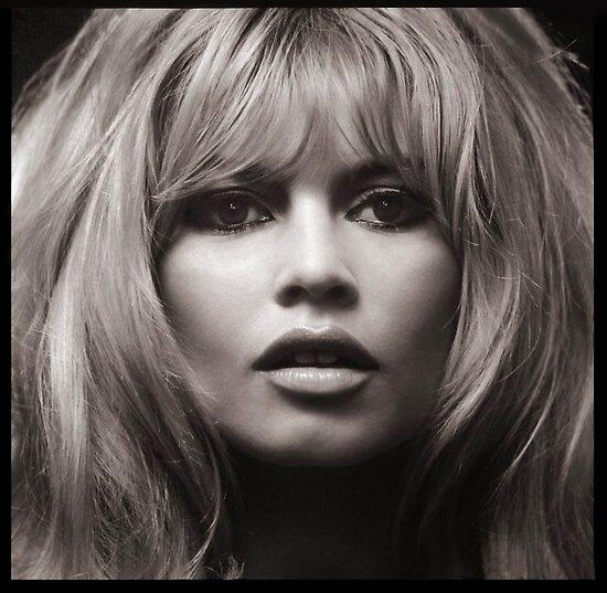 Brigitte Bardot's face up close poster by Edward  Landstreet