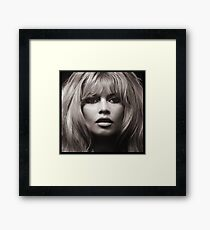 Brigitte Bardot's face up close poster Framed Print