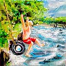 First Jump: Acrylic palette knife painting by Alma Lee