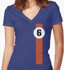 Race Winning #6 blue and orange racing livery Women's Fitted V-Neck T-Shirt