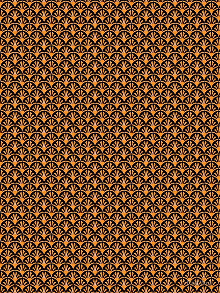 Geometric Pattern: Deco Sunset: Orange/Black by redwolfoz