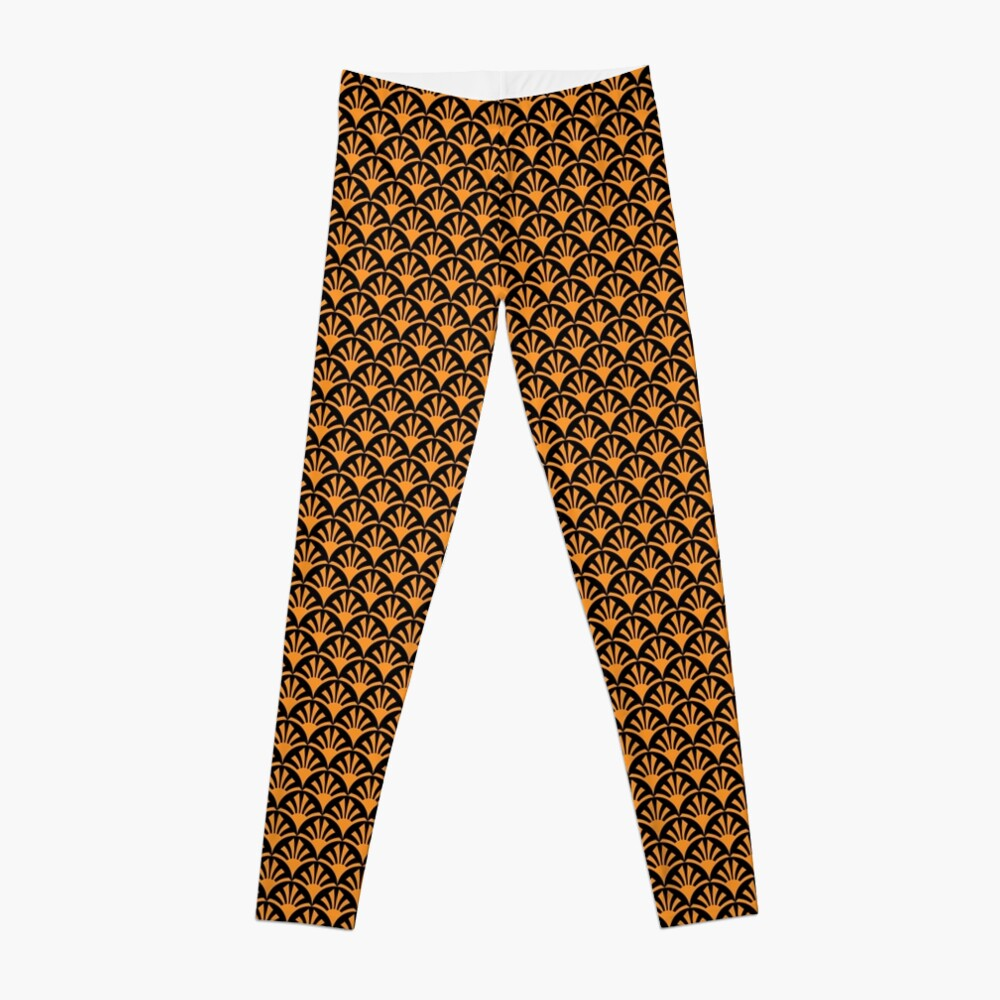 Geometric Pattern: Deco Sunset: Orange/Black Leggings