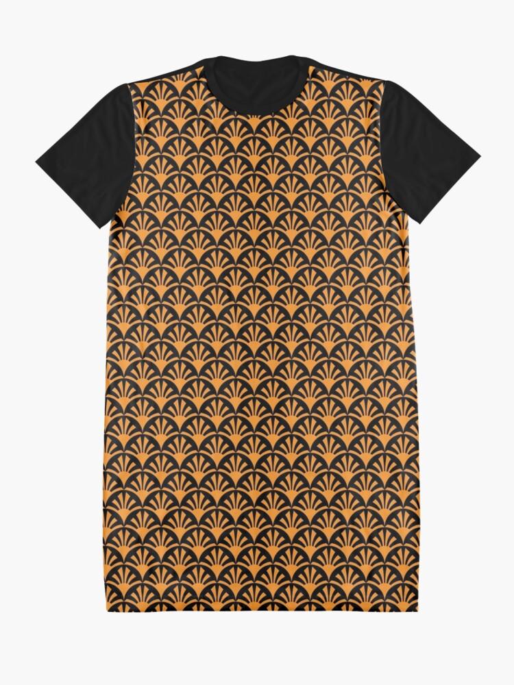 Alternate view of Geometric Pattern: Deco Sunset: Orange/Black Graphic T-Shirt Dress