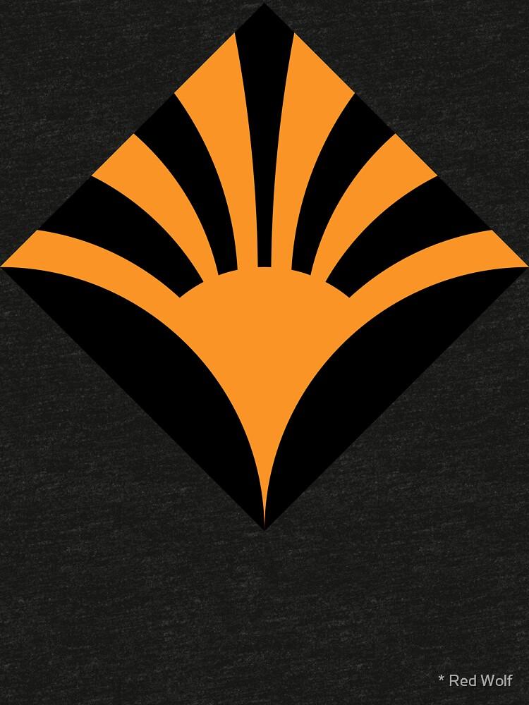 Geometric Pattern: Deco Sunset: Orange/Black by redwolfoz