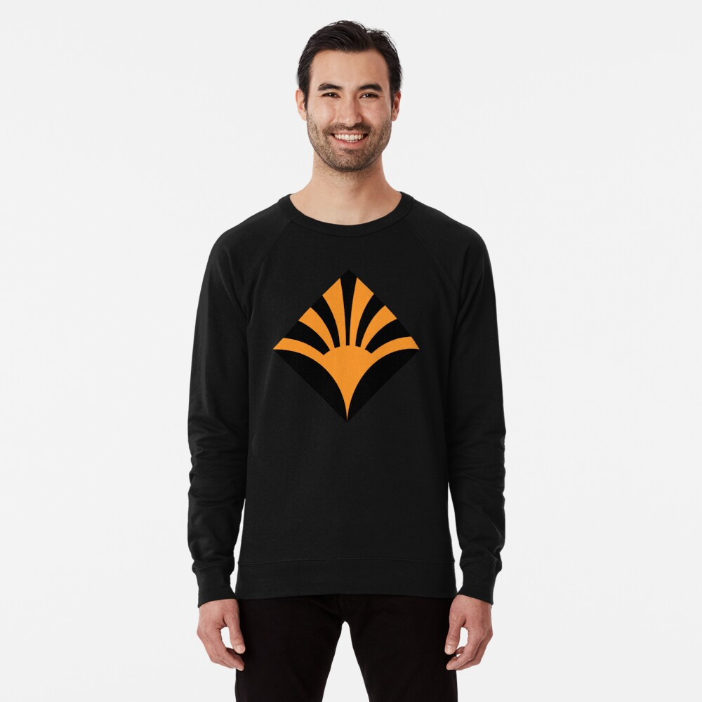 Geometric Pattern: Deco Sunset: Orange/Black Lightweight Sweatshirt