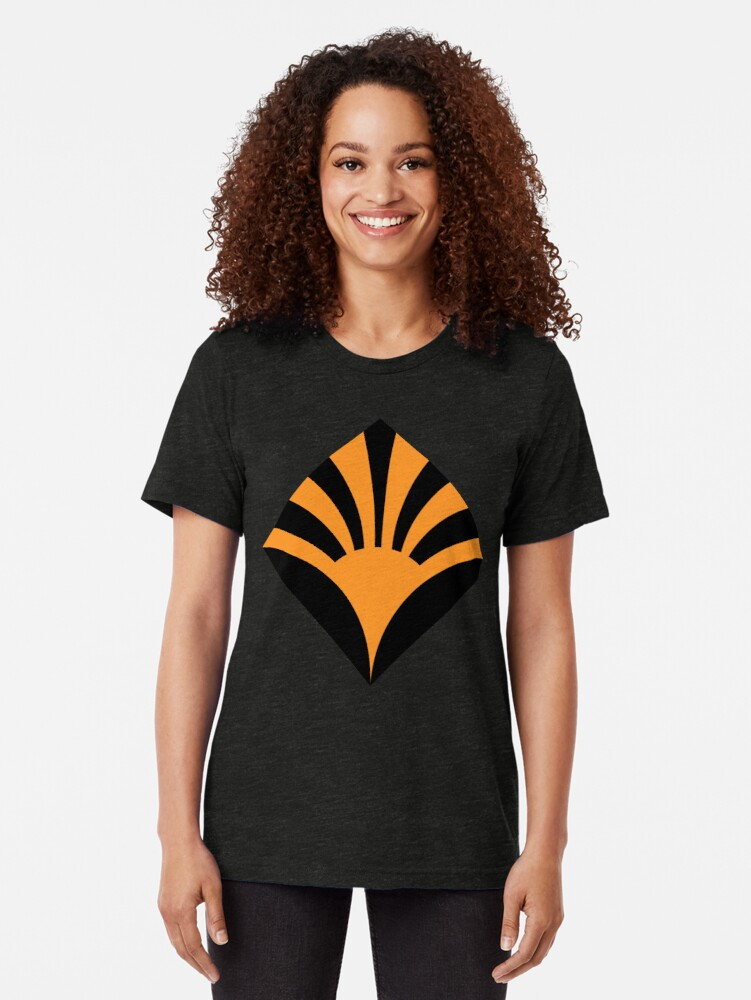 Alternate view of Geometric Pattern: Deco Sunset: Orange/Black Tri-blend T-Shirt