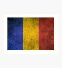 Old and Worn Distressed Vintage Flag of Romania Art Print