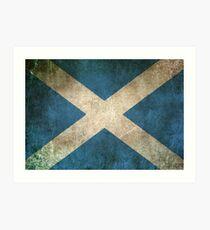 Lámina artística Bandera vintage apenada vieja y desgastada de Escocia