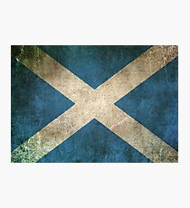 Old and Worn Distressed Vintage Flag of Scotland Photographic Print