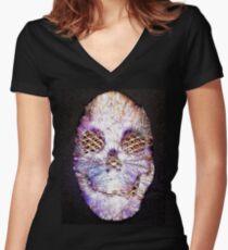 67Complex / Smiling Skull Women's Fitted V-Neck T-Shirt