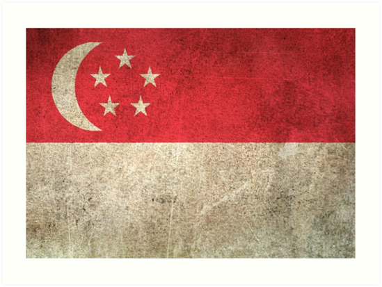 Old and Worn Distressed Vintage Flag of Singapore by jeff bartels