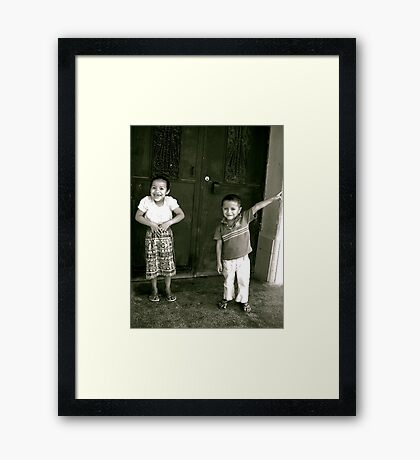 Mayan Siblings in Flores Framed Print
