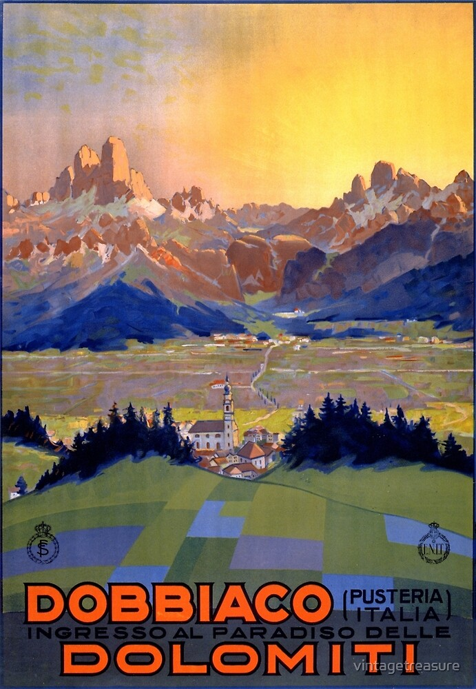 Dobbiaco Toblach Italy Vintage Travel Poster Restored by vintagetreasure