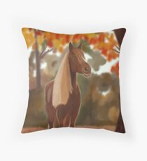 Blond horse in automne Floor Pillow