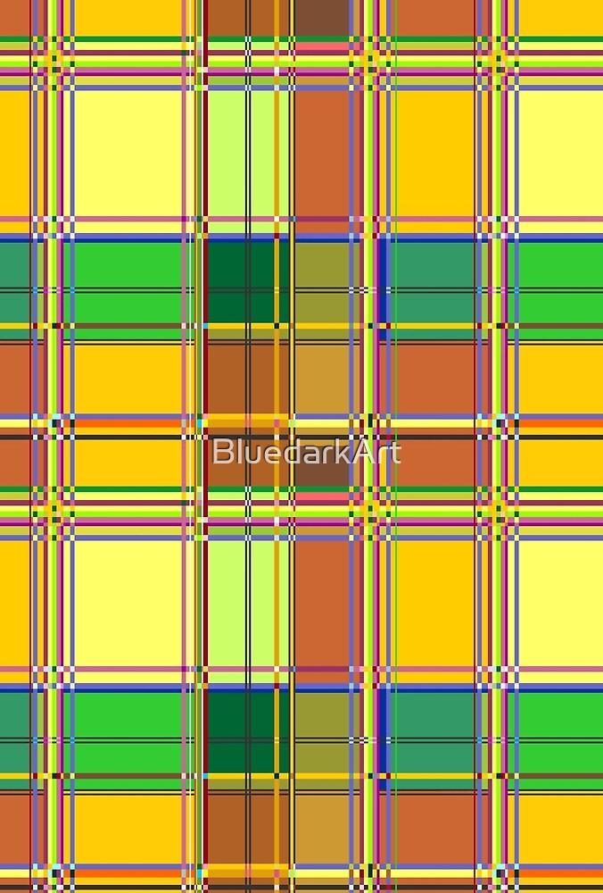 Caribbean Colorful Fabric Madras Tartan by BluedarkArt