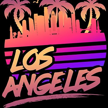 Los Angeles Skyline Retro Vintage 80s by Manqoo