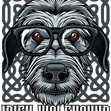 Nerdy Irish Wolfhound Nerd Glasses Cute Puppy Dog Gift Idea by Lumio