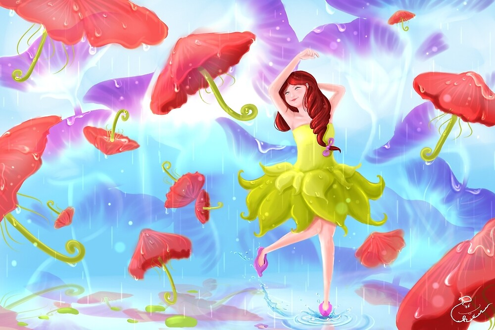 Enjoy the rain with flower umbrella imagination by PhinPhin