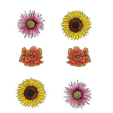 Blumenaufkleberblatt von skinnyginny