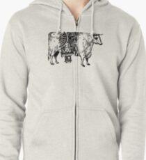 Steam-powered Cow Zipped Hoodie