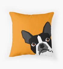 Peeking Boston Terrier funny dog art customizable gift for dog lovers dog person must haves Throw Pillow