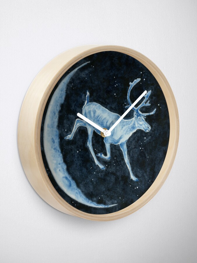 Alternate view of Magical, Glowing Reindeer Clock