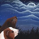 Guinea Pigs Under the Moon by WolfySilver