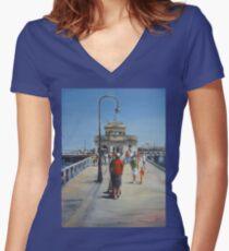St Kilda Pier (Melbourne-Australia) Women's Fitted V-Neck T-Shirt