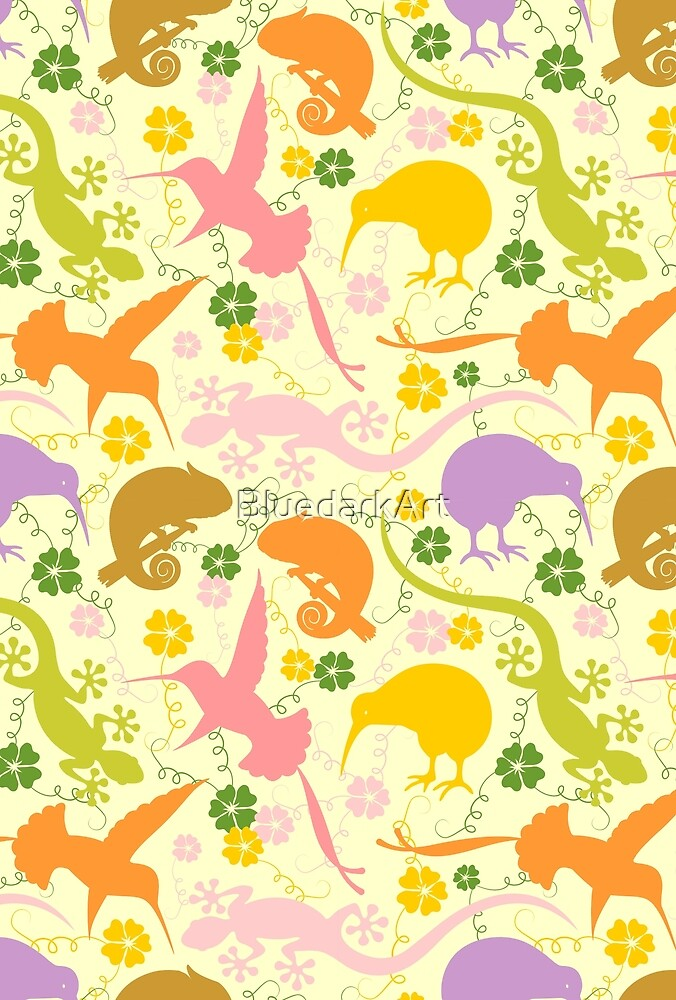 Animals Exotic Pastel Colors Shapes Pattern by BluedarkArt