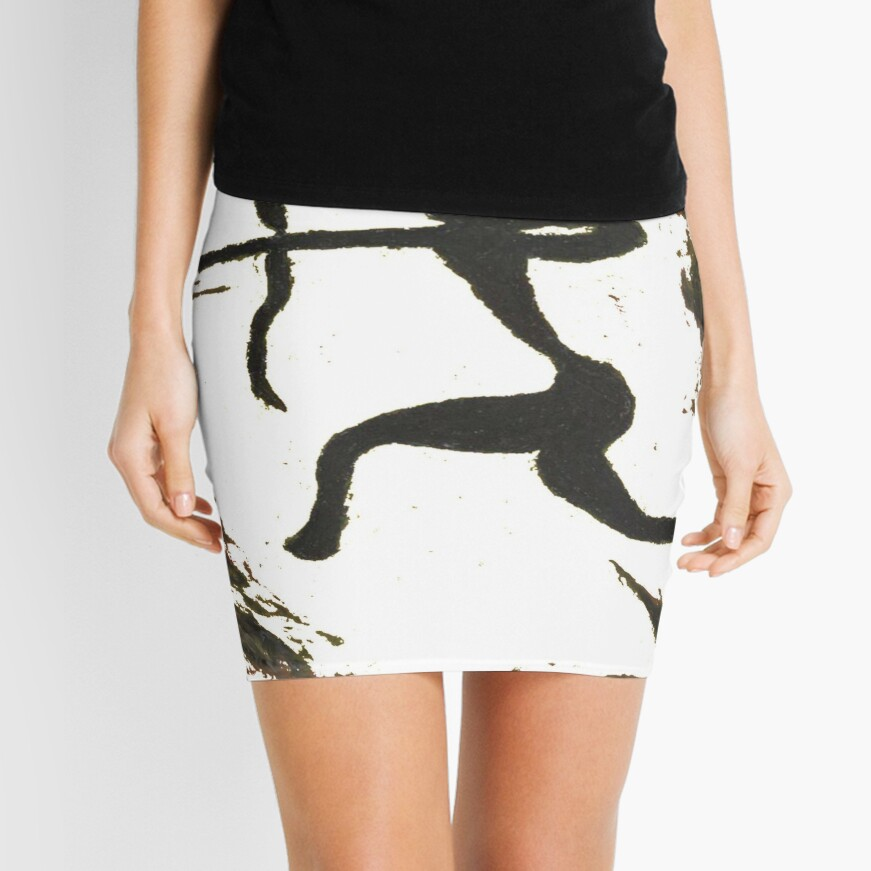 painting, art, outdoors, tree, one, illustration, water, bird, no people, pattern, square, animal, day Mini Skirt