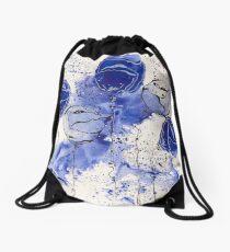 Blue and White Splotch Flowers Drawstring Bag