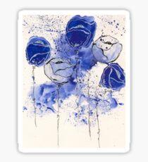 Blue and White Splotch Flowers Sticker