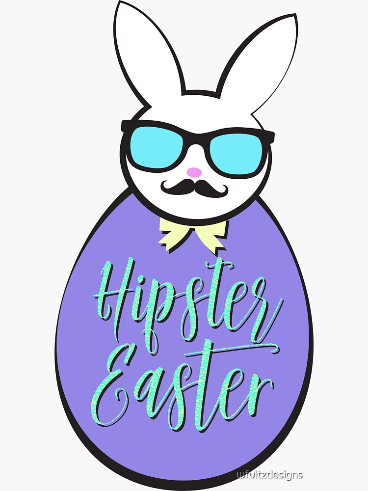 Hipster Easter Egg Bunny by wfultzdesigns