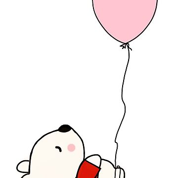 Baby Bear And Pink Balloon by Zehda