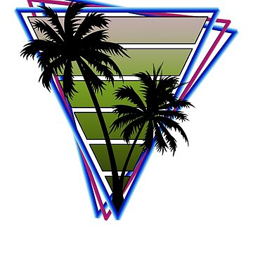 Retrowave style palm tree sunset Green by BrobocopPrime