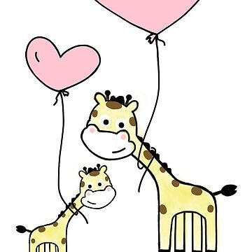 Mama And Baby Giraffe With Pink Balloons by Zehda
