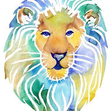 Lion Watercolor Painting by missmann