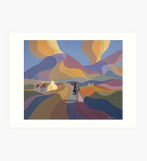 Dreamscape with girl and cottage Art Print
