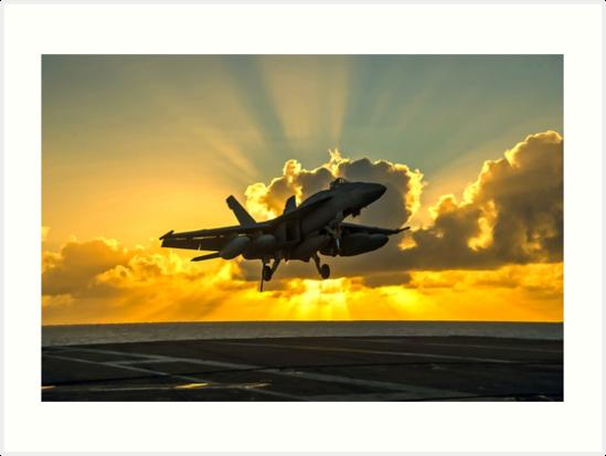 F-18 Landing In The Sunbeams - Digital Painting by verypeculiar