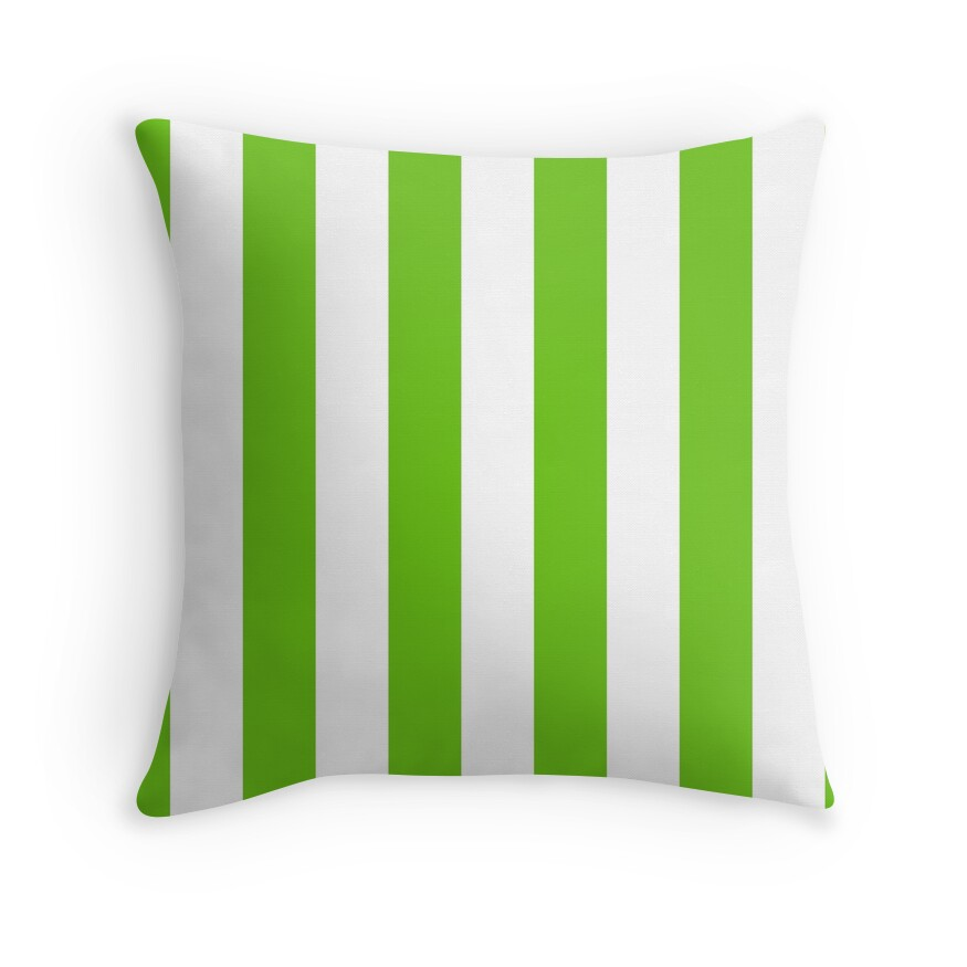 Alien Green and White Cabana Tent Stripes