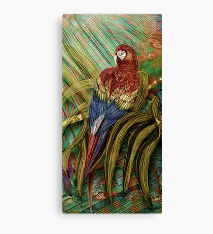 The Red Macaw: Inspired by Edward Lear's Botanicals, Alma Lee Canvas Print