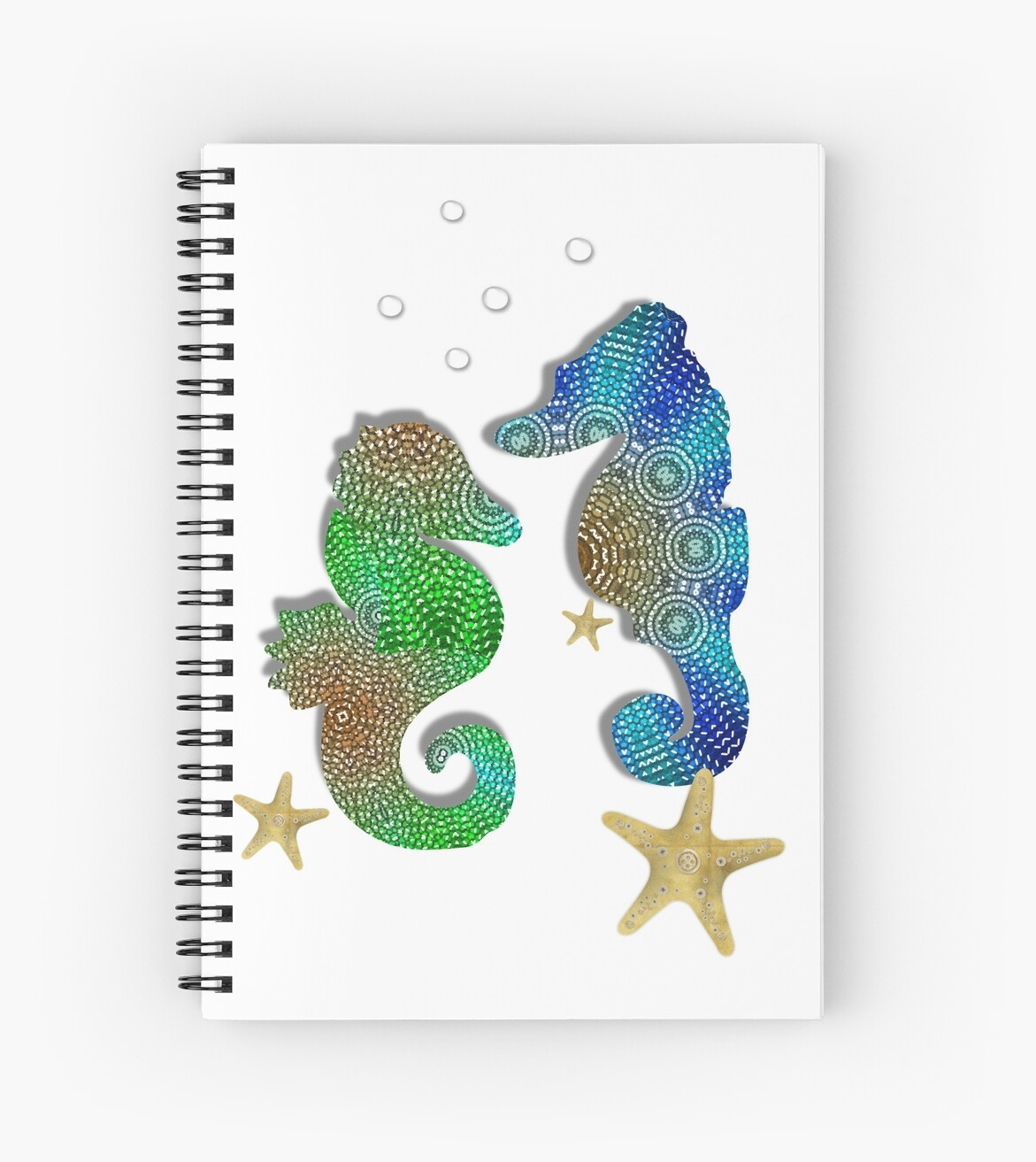 Pretty Blue Green Pattenred  Sea-Horses illustration by Artification