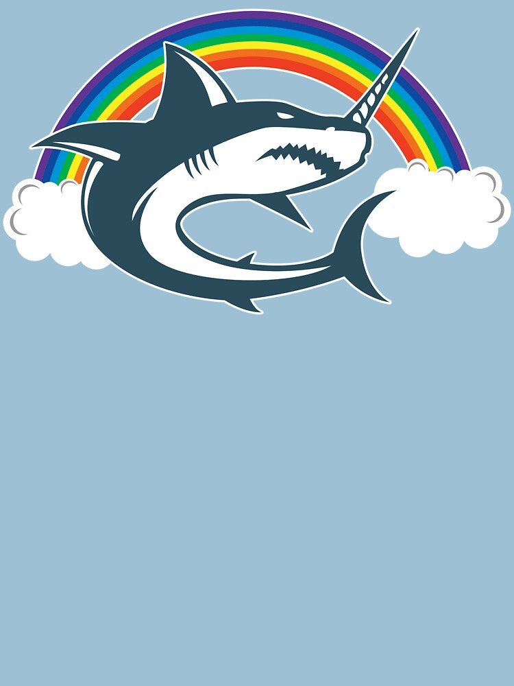 Unicorn Shark With Rainbow T Shirt by bitsnbobs