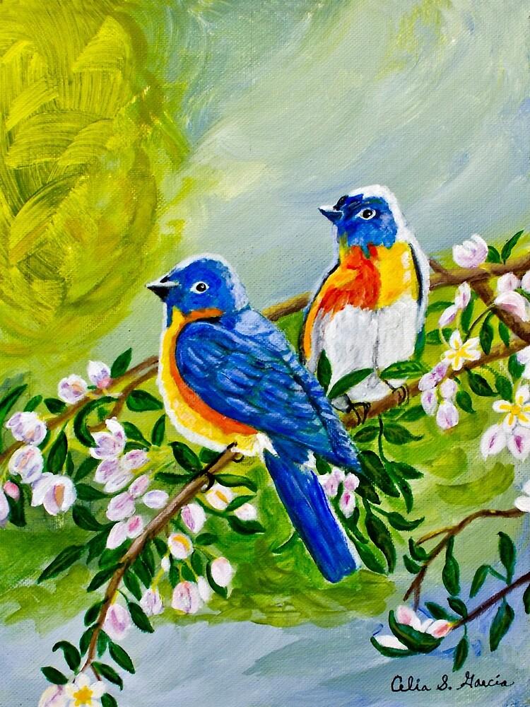 Birds In Tree  by CeliaSGarciaArt