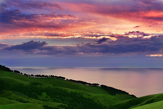 Sunset over emerald hills by Veronica Ek