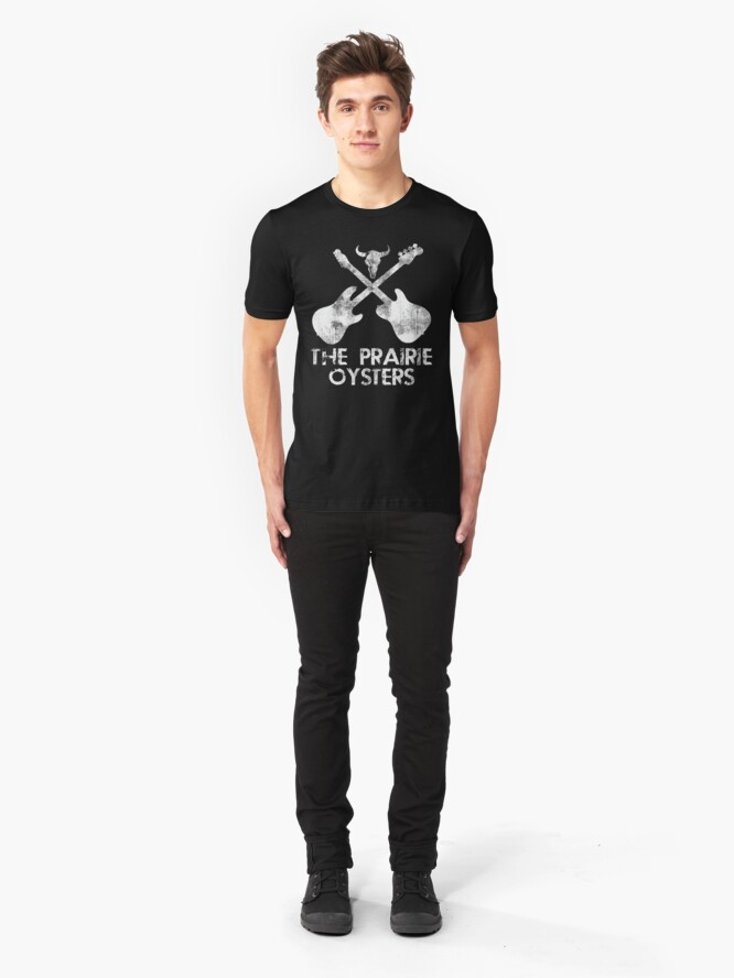 Alternate view of THE PRAIRIE OYSTERS BAND LOGO (WHITE FOR DARK COLOURS) Slim Fit T-Shirt