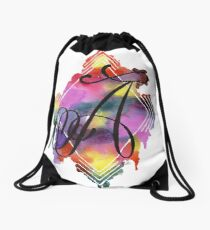 Calligraphy Initial Letter A Drawstring Bag