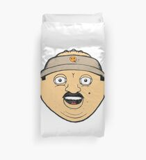 coffee donut man 90s nineties cartoon head drawing  Duvet Cover