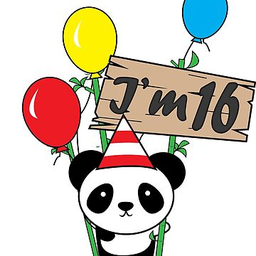 Cute cartoon panda 16th birthday gift  by handcraftline